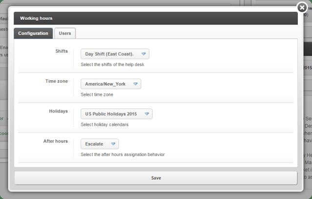 InvGate Service Desk Applying Shifts