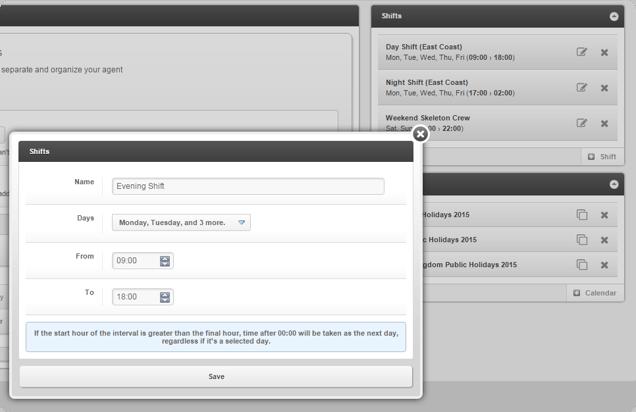 InvGate Service Desk Create a Shift