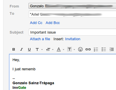 Forgotten e-mail draft