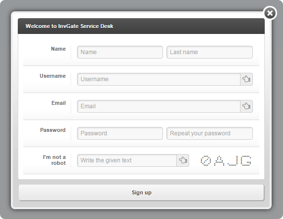 User Self Registration Service Desk InvGate