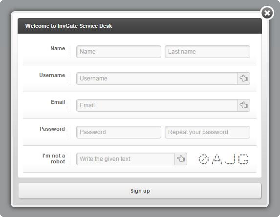 User Self Registration Service Desk InvGate
