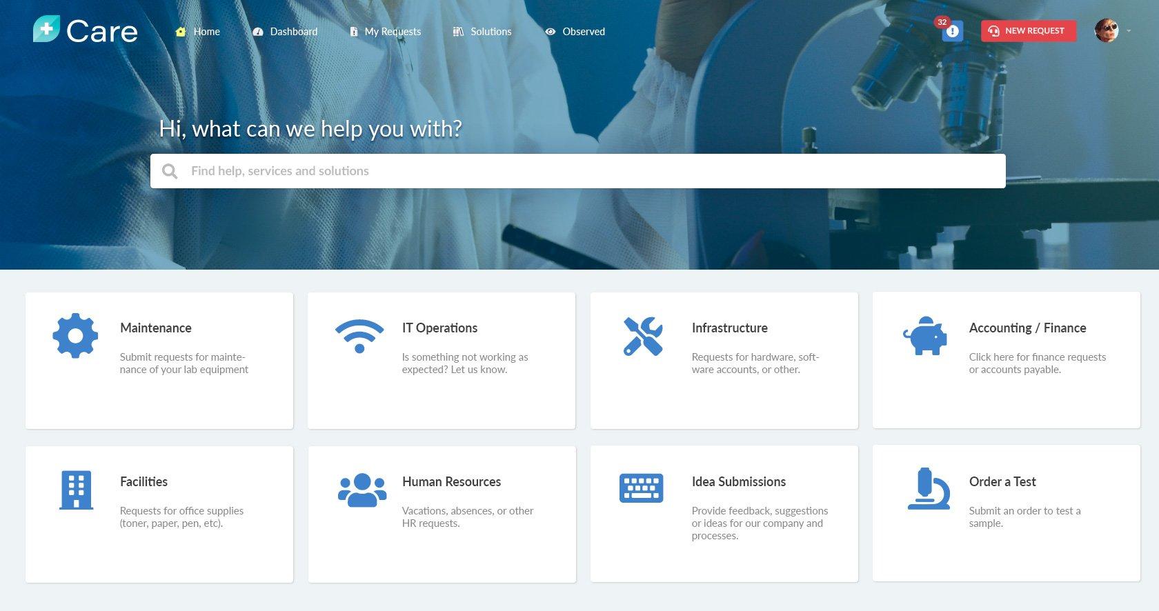 Self-service portal for a medical company