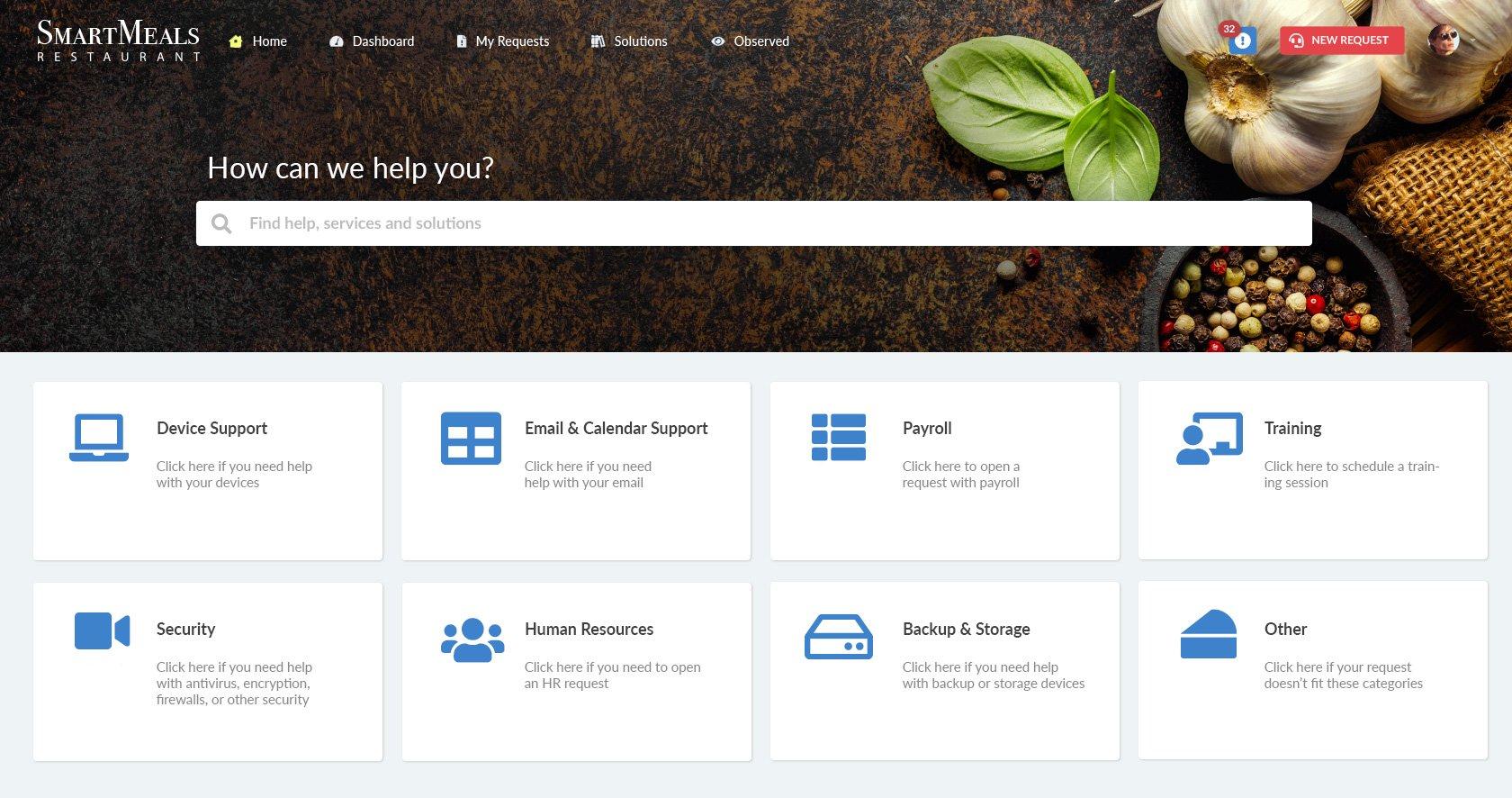 Self-service portal for a restaurant