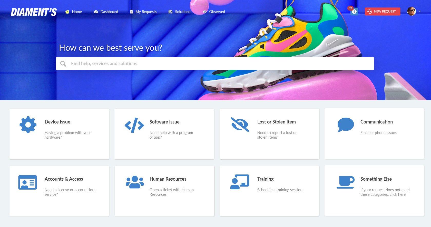 Self-service portal for a retailer