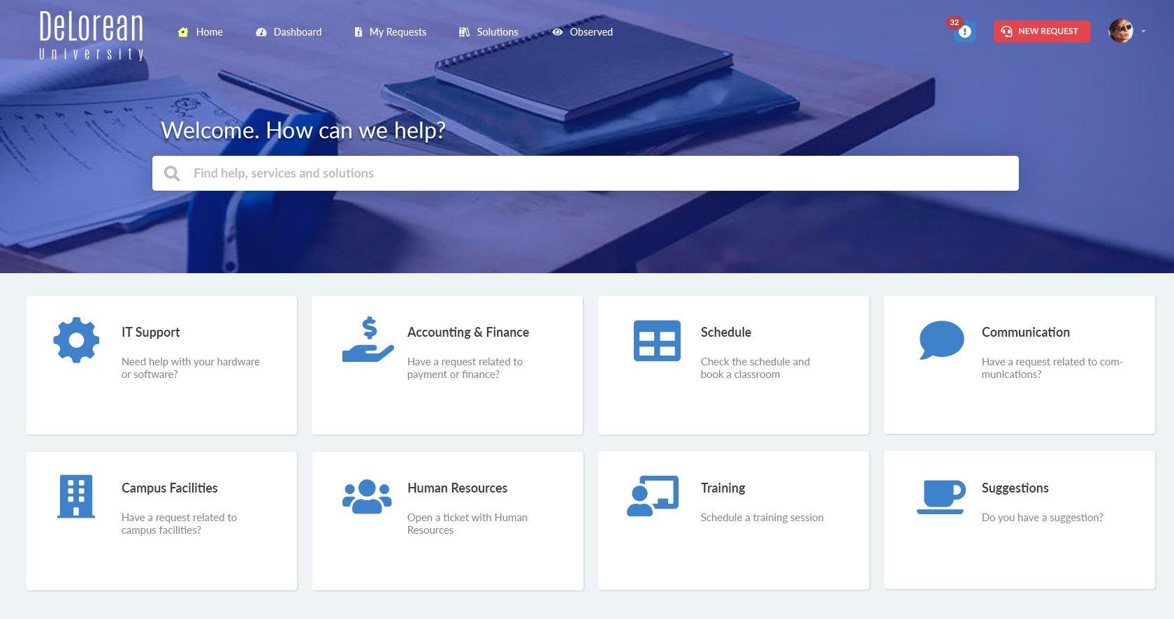 Self-service portal for a university