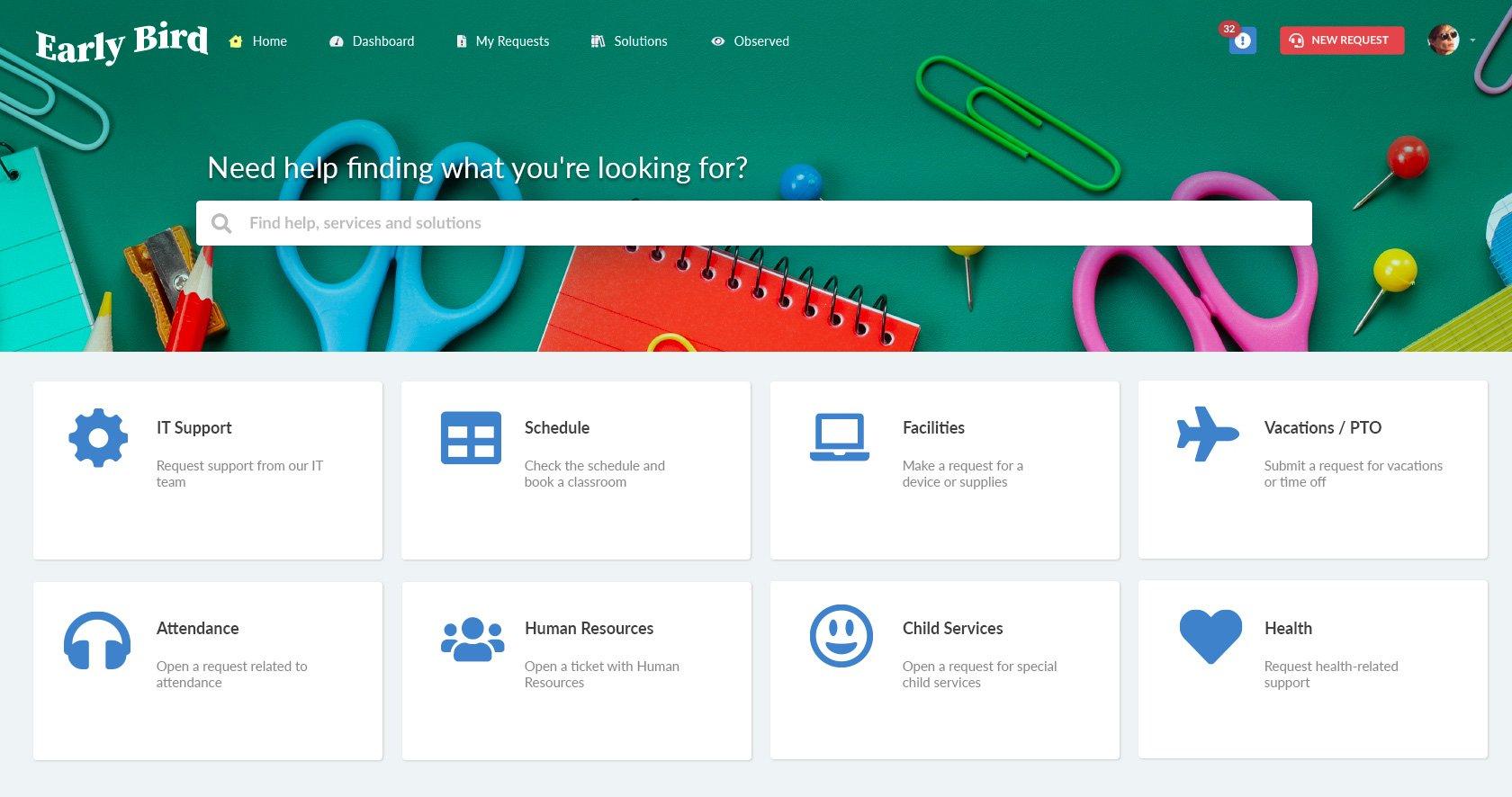 Self-service portal for K-12